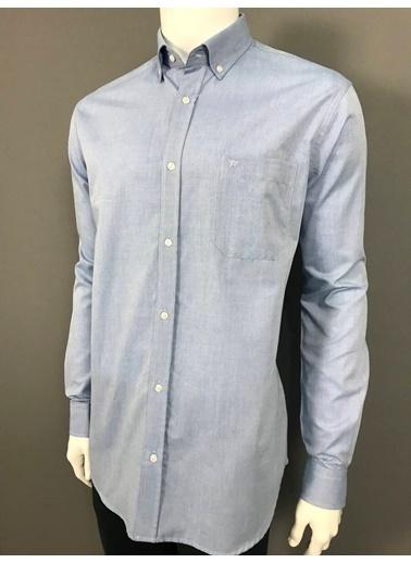 Abbate Oxford Düğmelı Yaka Regular Fıt Ceplı Casual Gömlek Mavi